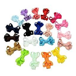 YHXX YLEN 20Pcs Small Baby Hair Bows Grosgrain Ribbon Baby Girls Clips (20 PCS Mix)