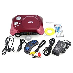 Wine Red Home Theater Portable Projector Resolution 480*240 Compatible with DVD VCD CD MP3 MP4 MP5 Game Disk