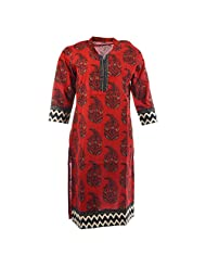 Pahal Women's Printed Cotton Red And Gold Kurti