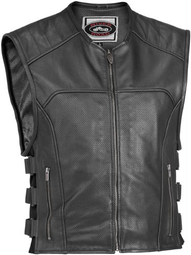 River Road Mens Ruffian Perforated Classic Leather Vest - 2X-Large