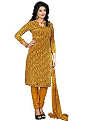 Fashion Queen Presents Beige & Yellow Colored Unstitched Dress Material