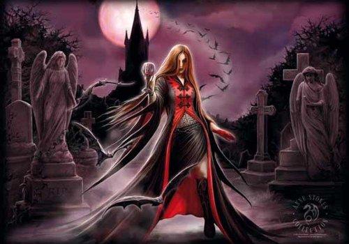 Anne Stokes - Blood Moon - Bandiera Poster 100% poliestere - 110 x 75 cm