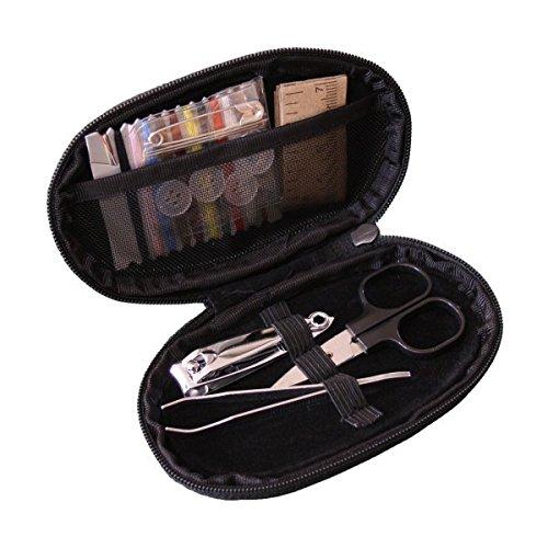 Trousse de couture de voyage 22 pièces avec fils, aiguilles, enfileur, ciseaux, boutons, ruban de mesure, ciseaux à ongles, pince à épiler... - Etui en similicuir