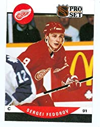 Sergei Fedorov hockey card 1990 Pro Set #604 (Detroit Red Wings) rookie card