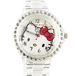 Hello Kitty [L0542] - Montre Design 'Hello Kitty' blanc transparent