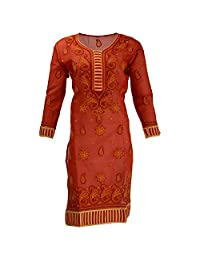 Lucknow Chikan Industry Women's Cotton Straight Kurti (Orange , 42 Inches)