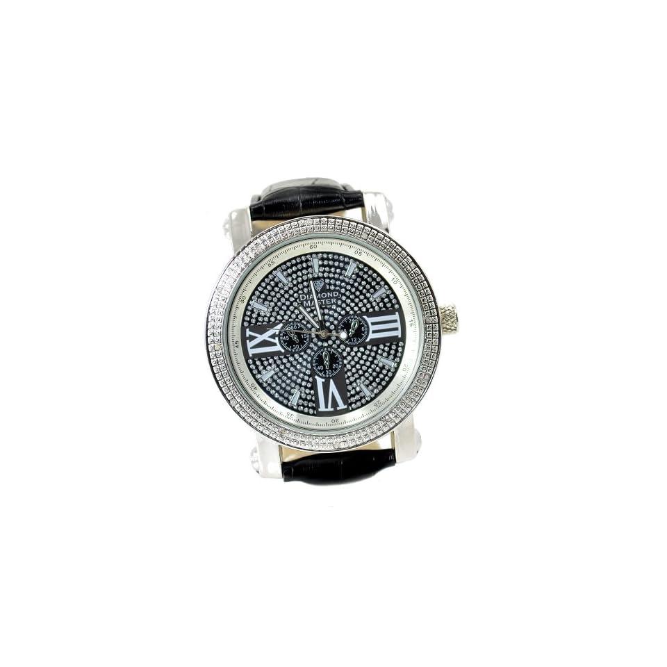 Mens Diamond Hip Hop Silver Tone Watch 50mm Bezel