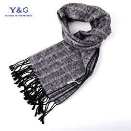 Grey soild Feel Pashmina Scarves For men Y&G 100% Silk Jacquard Woven Scarf SC1029