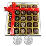 Chocholik Belgium Chocolate Gifts - Stunning Collection Of Truffles With 5gm X 2 Pure Silver Coins - Diwali Gifts