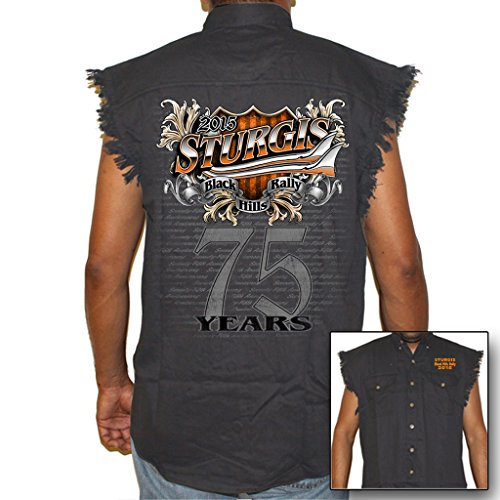 Biker Life USA Men's 2015 Sturgis 75 Years Cutoff Denim