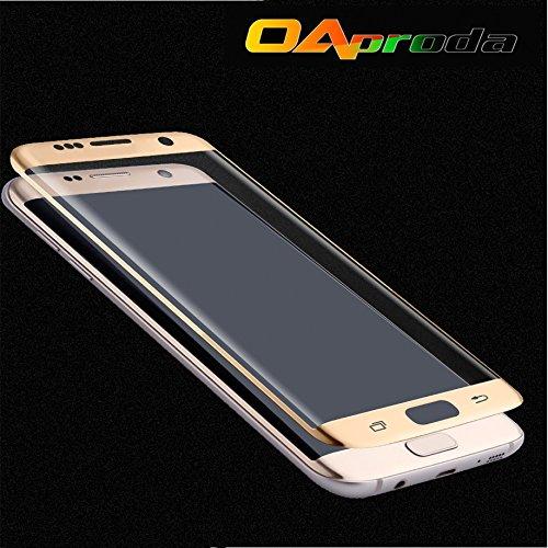 OAproda® Samsung Galaxy S7 edge SC-02H SCV33対応 AGC旭硝子使用 液晶強化ガラス保護フィルム 3D曲面 9H 0.3mm 5.5インチ ゴールデン