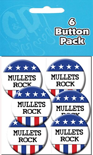 "C&D Visionary Mullets Rock 1 1/2"" Button (6-Piece) - 1"