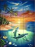 Dolphin Island by Jeff Wilkie Tile Mural for Kitchen Backsplash Bathroom Wall Tile Mural