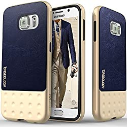 Galaxy S6 case, Caseology [Riot Series] [Navy Blue] Premium Leather Bumper Cover [Leather Grip] Samsung Galaxy S6 case