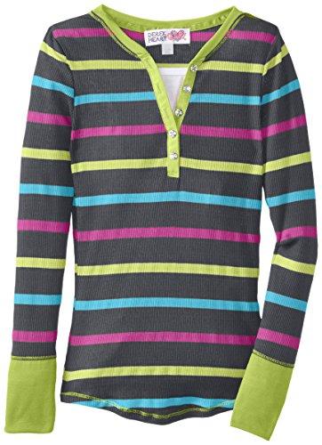 Derek Heart Big Girls' Long Sleeve Striped Top Faux Two-Fer, Grey Combo, Medium