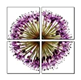 Four-Piece Canvas Framed Photographic Print Decorative Artwork Mural - Purple Floral Flowers Closeup (Each Piece 50cm x 50cm)