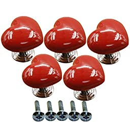 Ltvystore 5Pack Red Ceramic Heart Cabinet Knobs,Drawer Pulls & Handles Set,Ceramic Heart Shape Knobs for Door Dresser Drawer Cupboard Baby Kid\'s Children\'s Furniture with Screws