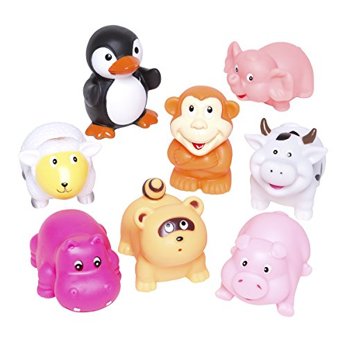 Elegant Baby Bath Time Fun Rubber Water Squirties Vinyl Zip Storage Bag, Animal Party, Set Of 8