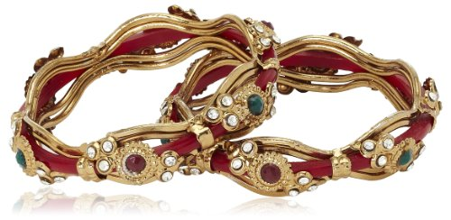 Variation Pair Of Red Copper Bangles For Women-VDAM0037 (multicolor)