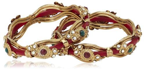 Variation Pair Of Red Copper Bangles For Women-VDAM0037 (multicolor)