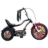 Tauki™ 12 Inch Kids Haley Style Tricycle, Black/White, for 3-7 Years Old