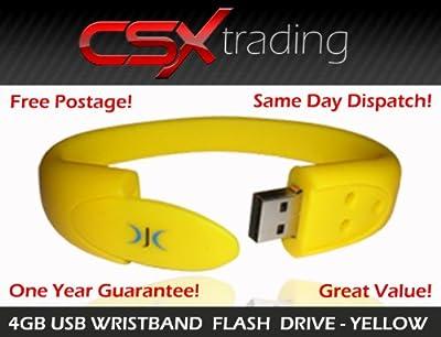 Wristband USB Flash Pen Drive Memory Stick 4GB - Yellow by DJC