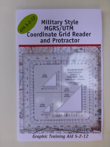 Military Style MGRS UTM Coordinate Grid Reader and Protractor