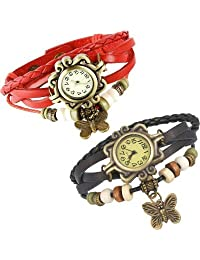 COSMIC RAKHI COMBO ANALOG BUTTERFLY PENDENT WOMEN WATCH- RED AND BLACK STRAP