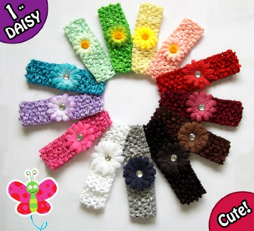 15 Assorted Super Soft 'Ema Jane' Gerber Daisy Stretch Headbands with 'Ema Jane' Small Gerber Daisies - Perfect for Girls, Youth, Baby, Newborn