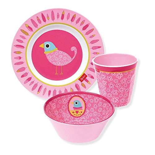 sigikid m dchen melamin set teller sch ssel trinkbecher vogel finky pinky pink 24656. Black Bedroom Furniture Sets. Home Design Ideas