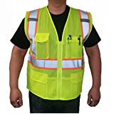 3C Products Class 2 Reflective Safety Vest Medium Neon Green with Orange