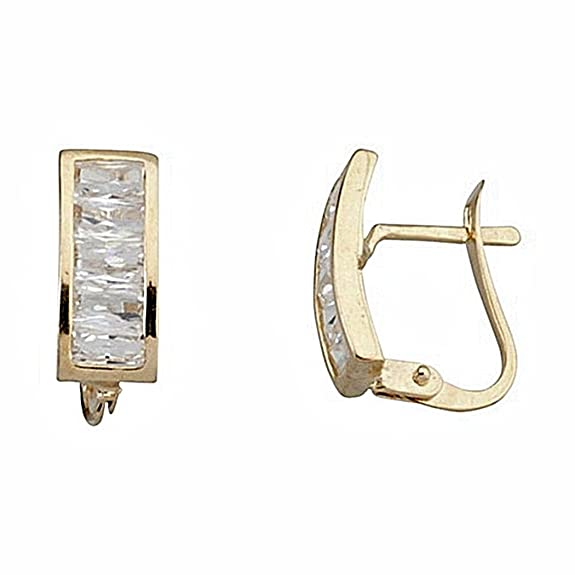 18k gold cubic zirconia earrings Catalan 4x2 fence close [6637P]
