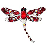 EVER FAITH Dragonfly Silver-Tone Teardrop Brooch Pin Red w/ Opal Color Austrian Crystal