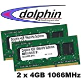 Micron 8GB 2x 4GB DDR3 - SDRAM RAM 1066MHZ So-Dimm S0 Notebook Speicher 1066 PC-8500 PC 8500 MT16JSS51264HY-1G1