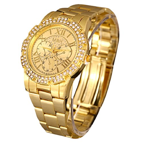 Changeshopping(Tm) Luxury Women Men Unisex Stainless Steel Quartz Wrist Watch Gold