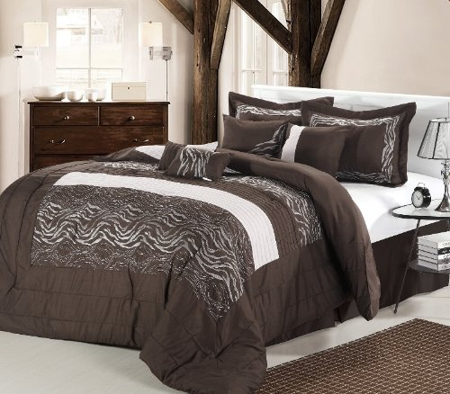 12Pc Zebra Brown / White Luxury Bedding Set - Queen