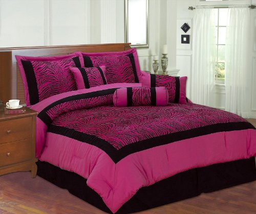 Full Faux Silk and Flocking Printing Black / Pink Zebra Comforter Set Bedding-in-a-bag