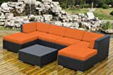 Ohana Collection Pn0704OR Genuine Ohana Outdoor Patio Wicker Furniture 7-Piece All Weather Gorgeous Couch Set with Free Patio Cover
