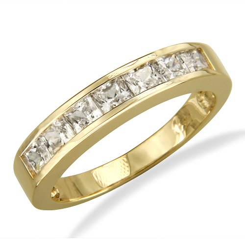 14K Yellow Gold Channel Set Princess CZ Cubic Zirconia Bridal Wedding Anniversary Ring Band 1.25ct