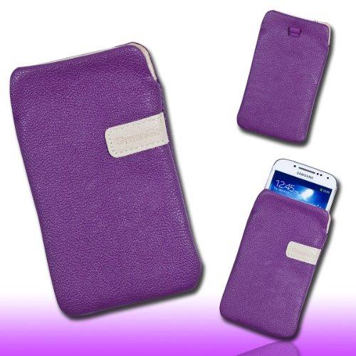 Handy Tasche Hülle Case Kunstleder lila / violett M66 Gr.3 für Samsung C3312 Rex60 / S5222R Rex80 / Galaxy Young S6310 / Galaxy Young Duos S6312 / Galaxy Pocket Plus S5301 / Samsung Galaxy Pocket Neo S5310 / Alcatel OT 903D / Alcatel OT Star 6010D