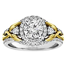 buy 10K Two Tone Gold Infinity Braid Engagement Ring Set With Matching Wedding Ring With Forever Brilliant Moissanite By Charles Colvard (2.1 Ct. Twt.)