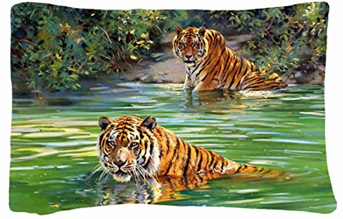 Microfiber Peach Queen Size Soft And Silky Decorative Pillow Case -Cats Animal Tiger Artistic Jungle Print Illistration front-848037