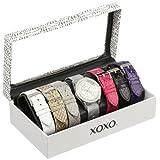 Reloj XOXO XO9053 para mujer en tono plata con set de 7 pulseras intercambiables en diseños mesh y de serpiente.
