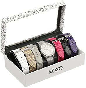 XOXO Women's XO9053 Seven Color Snake and Mesh Interchangeable Strap Set Watch