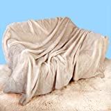Luxury Soft Plush MINK Throw, EXTRA Large (200cm x 240cm- Suitable for King Size Bed or 2/3 Seater Sofa) White Smoke Rich Cream by Viceroy Beddingby viceroybedding