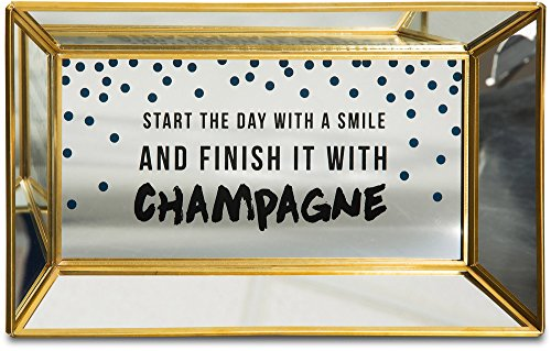 Pavilion Gift Company 75106 Start The Day with a Smile Mirrored Tray, 10 x 6