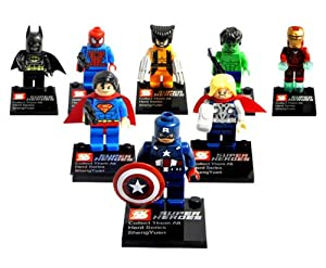 8 Sets Super Heroes Minifigures Building Toys Wolverine Thor Hulk Blocks Toy