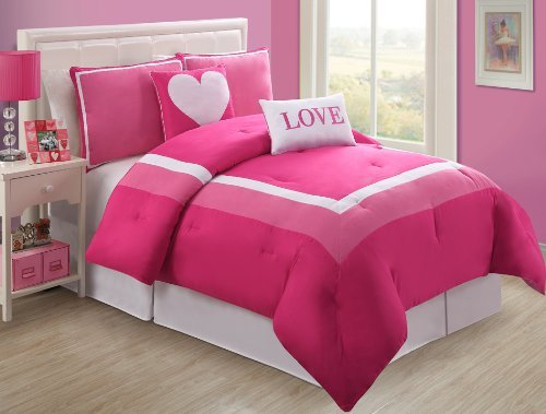 4 Pc Modern Pink and White Teen/girl Comforter Set, Twin Size Bedding, Bed in a Bag