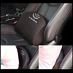 See VIP Luxury Black Memoryform Cushions Waist Back Cushion Seat Covers Pillow Pad for Car Motors Auto Vehicle Chair(1pack) Details