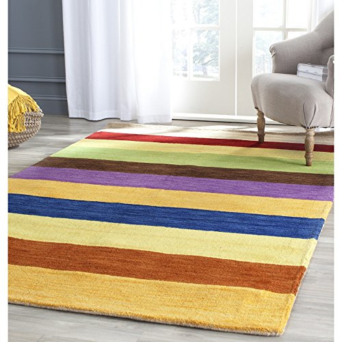 Safavieh Himalaya Collection HIM584A Handmade Yellow and Multi Wool Area Rug, 5 feet by 8 feet (5' x 8')